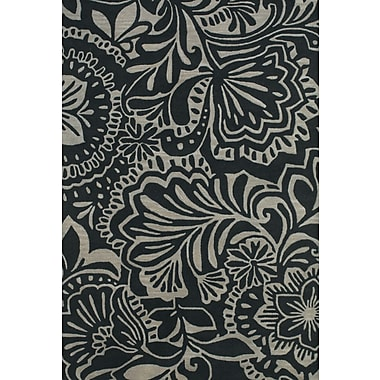 Feizy® Terresa Pure Wool Pile Floral Rug, 8' x 11', Gray/Black