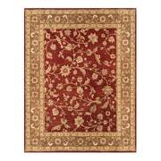 Feizy® Sheridan Pure Wool Pile Border Rug, 5' x 8', Red/Chocolate