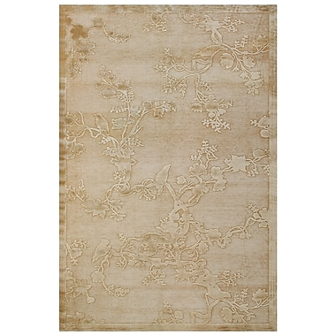 Feizy® Soho Art Silk Pile Floral Rug, 7'6in. x 10'6in., Ivory