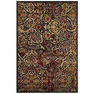 Feizy Soho Rug, 8'x11', Dark Chocolate/Rust