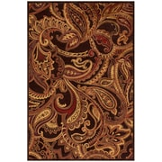 "Feizy® Granada  Art Silk Pile Transitional Rug, 2'6"" x 8', Dark Chocolate/Rust"