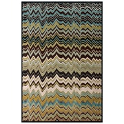 "Feizy® Aviv  Art Silk Pile Transitional Rug, 5'3"" x 7'6"", Dark Chocolate/Aqua"