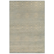 "Feizy® Soho Laois Art Silk Pile Contemporary Rug, 2'6"" x 8', Cream/Silver"