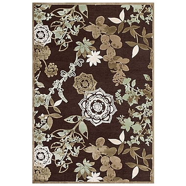 Feizy Soho Rug, 5'x8', Dark Chocolate/Sage
