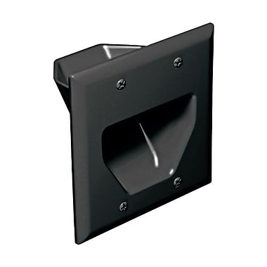 Datacomm™ 2 Gang Recessed Low Voltage Cable Plate, Black