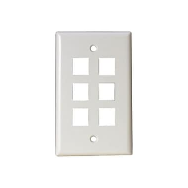 STEREN® 6 Socket Keystone Faceplate, White