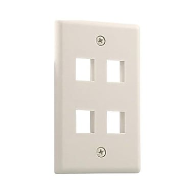 STEREN® 4 Socket Keystone Faceplate, Ivory