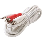 STEREN® 12' Stereo Plug to 2-RCA Plug Y Audio Patch Cord, White