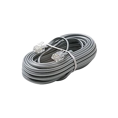 STEREN® 3' 4C Telephone Line Cord, Silver