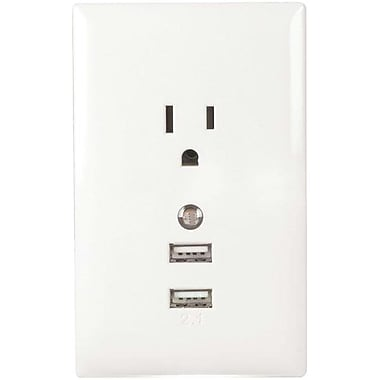 RCA WP2UNLW USB Wall Plate Charger and Nightlight