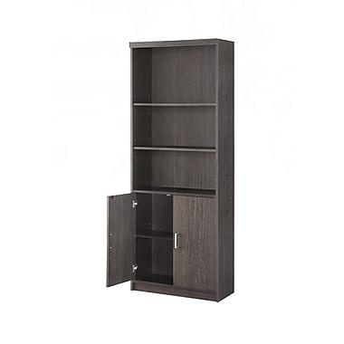 Whalen Trinity 5-Shelf Bookcase with Doors, Espresso