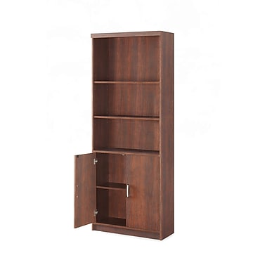 Whalen Trinity 5-Shelf Bookcase with Doors, Cherry