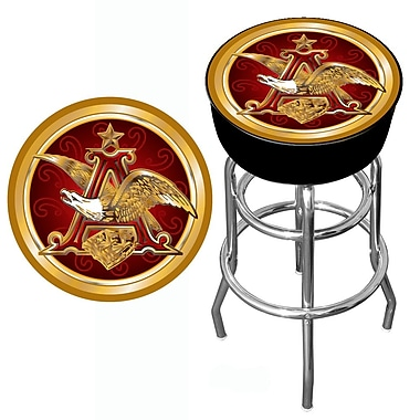 Trademark Global® Vinyl Padded Swivel Bar Stool, Black, Budweiser® A & Eagle