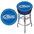 Trademark Global® Vinyl Padded Swivel Bar Stool, Blue, Bud Light