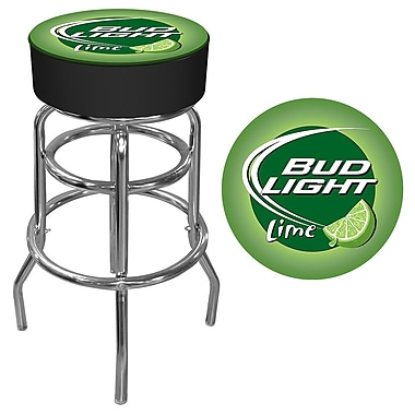 Trademark Global® Vinyl Padded Swivel Bar Stool, Lime/Black, Bud Light