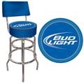 Trademark Global® Vinyl Padded Swivel Bar Stool With Back, Blue, Bud Light