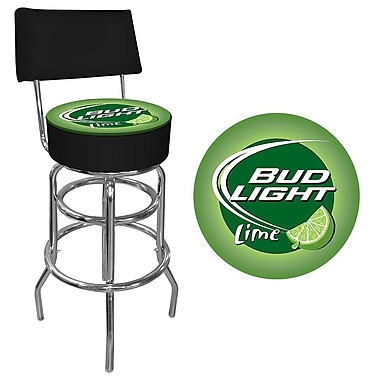 Trademark Global® Vinyl Padded Swivel Bar Stool With Back, Lime/Black, Bud Light