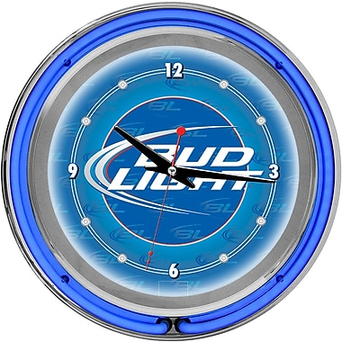 Trademark Global® Chrome Analog Neon Wall Clock, Bud Light