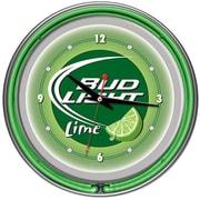 Trademark Global® Chrome Analog Neon Wall Clock, Bud Light Lime