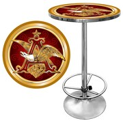 "Trademark Global® 28"" Solid Wood/Chrome Pub Table, Gold, Budweiser® A & Eagle"