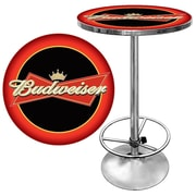 "Trademark Global® 28"" Solid Wood/Chrome Red/Black Pub Table, Red, Budweiser® Bowtie"