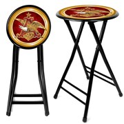 Trademark Global® 24 Cushioned Folding Stool, Red/Black, Anheuser Busch A & Eagle