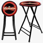 Trademark Global® 24 Cushioned Folding Stool, Red/Black, Budweiser®