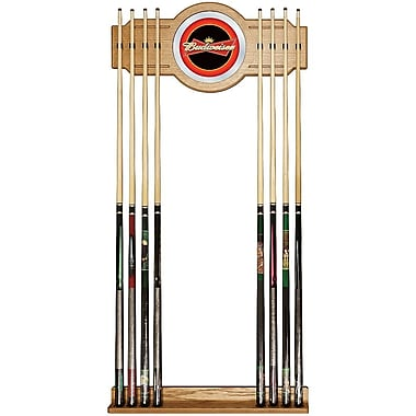 Trademark Global® Wood and Glass Billiard Cue Rack With Mirror, Budweiser®