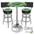 Trademark Global® Ultimate 2 Bar Stools With Back and Table Gameroom Combo, Lime, Bud Light®