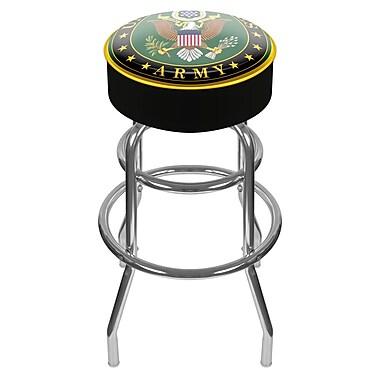 Trademark Global® Vinyl Padded Swivel Bar Stool, Black, U.S. Army Symbol