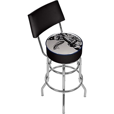 Trademark Global® Vinyl Padded Swivel Bar Stool With Back, Black, U.S Army The Horn Calls