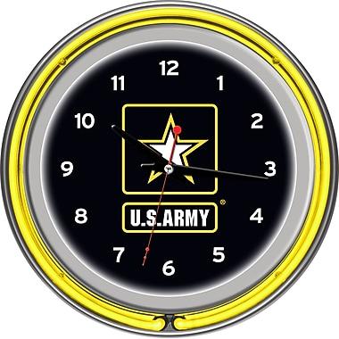 Trademark Global® Chrome Double Ring Analog Neon Wall Clock, U.S. Army