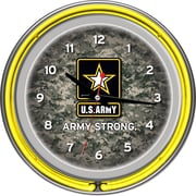 Trademark Global® Chrome Double Ring Analog Neon Wall Clock, U.S. Army Digital Camo