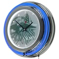 Trademark Global® Chrome Double Ring Analog Neon Wall Clock, U.S. Army This We'll Defend