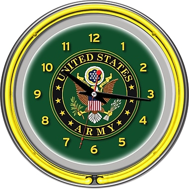 Trademark Global® Chrome Double Ring Analog Neon Wall Clock, U.S. Army Symbol