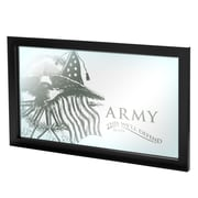"Trademark Global® 15"" x 27"" Black Wood Framed Mirror, U.S Army This We'll Defend"