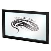 "Trademark Global® 15"" x 27"" Black Wood Framed Mirror, U.S Army The Horn Calls"