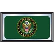 """Trademark Global® 15"""" x 27"""" Black Wood Framed Mirror, U.S. Army Symbol"""