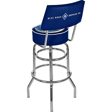 Trademark Global® Vinyl Padded Swivel Bar Stool With Back, Blue, Blue Moon