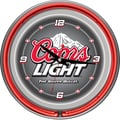 Trademark Global® Chrome Analog Neon Wall Clock, Coors Light Gray