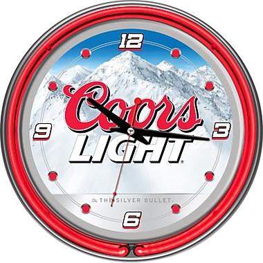 Trademark Global® Chrome Analog Neon Wall Clock, Coors Light White