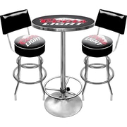 Trademark Global® Ultimate 2 Bar Stools With Back and Table Gameroom Combo, Coors Light®