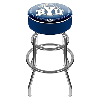 Trademark Global® NCAA® Vinyl Padded Swivel Bar Stool, Blue, BYU