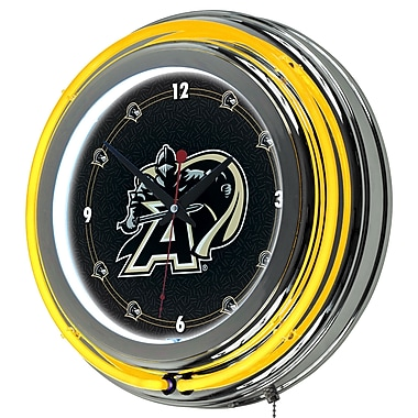 Trademark Global® Chrome Double Ring Analog Neon Wall Clock, NCAA Army Black Knights™