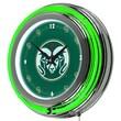 Trademark Global® Chrome Double Ring Analog Neon Wall Clock, NCAA Colorado State University