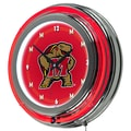Trademark Global® Chrome Double Ring Analog Neon Wall Clock, NCAA Maryland University