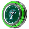 Trademark Global® Chrome Double Ring Analog Neon Wall Clock, NCAA Tulane University