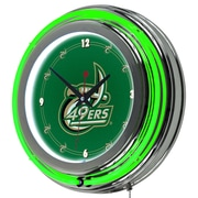Trademark Global® Chrome Double Ring Analog Neon Wall Clock, University of North Carolina Charlotte