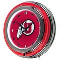 Trademark Global® Chrome Double Ring Analog Neon Wall Clock, NCAA University of Utah