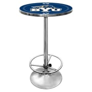 "Trademark Global® NCAA® 28"" Solid Wood/Chrome Pub Table, Blue, BYU"